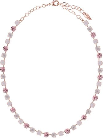 short necklace with 6mm Swarovski chaton crystals, rosegold plated, mixed colours – Bild 4