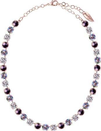 classical short necklace with 9mm Swarovski chaton crystals, rosegold plated, mixed colours – Bild 9