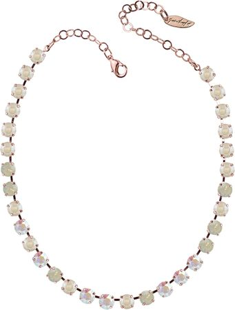 classical short necklace with 9mm Swarovski chaton crystals, rosegold plated, mixed colours – Bild 1