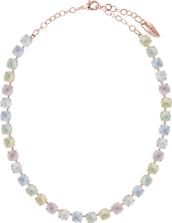 classical short necklace with 9mm Swarovski chaton crystals, rosegold plated, mixed colours – Bild 5