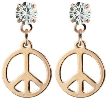earpost with pending peace symbol, rose gold plated – Bild 4