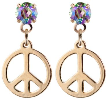 earpost with pending peace symbol, rose gold plated – Bild 13