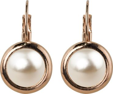 Casted earring,  rosegold plated - with a 10mm Swarovski pearl cabuchon