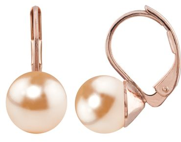 Pearl-earring with 8mm Swarovki Pearl, rosegold plated – Bild 23