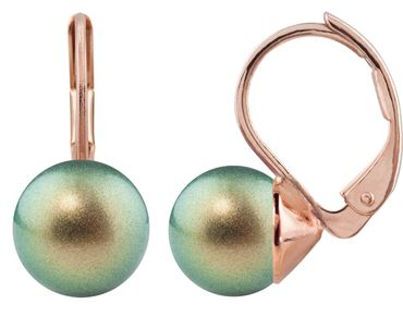 Pearl-earring with 8mm Swarovki Pearl, rosegold plated – Bild 5