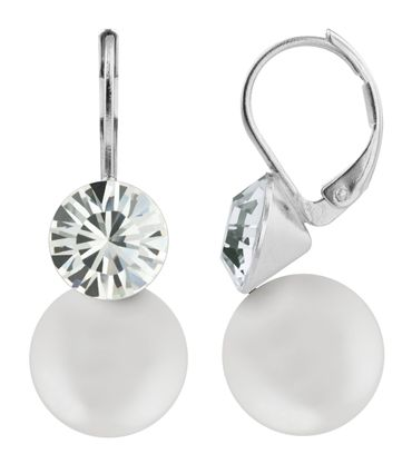 Earring with 8mm Pearl and 6mm Chaton-crystal, silver plated – Bild 4