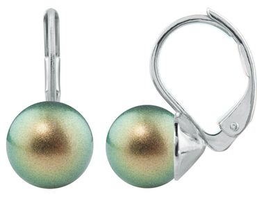 Pearl-Earring with 8mm Swarovsky Pearl, silver plated – Bild 3