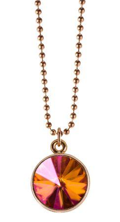 Rosi Rivoli Halskette rosé vergoldet mit 14mm Swarovski Kristall Anhänger an 45cm Kugelkette – Bild 1