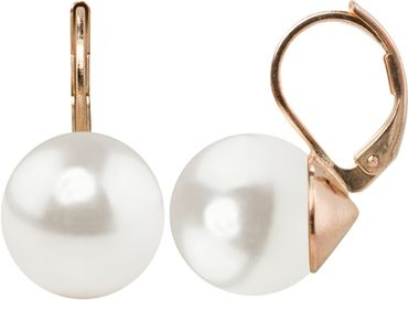 Pearl-earring with 12mm Swarovki Pearl, rosegold plated – Bild 6