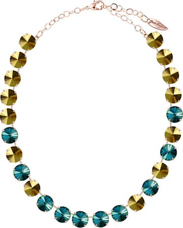 classical short necklace with 12mm Swarovski chaton crystals, silver plated, mixed colours – Bild 2