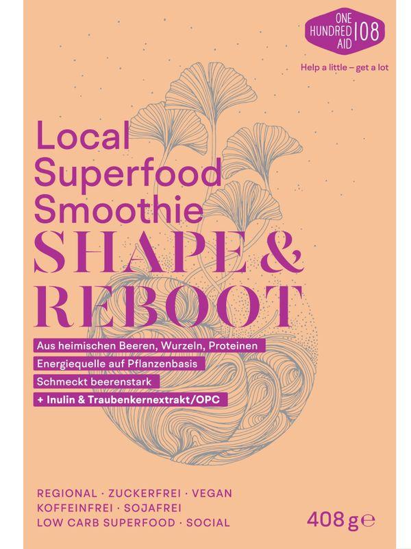 Shape & Reboot - Smoothie Pulver aus lokalen Superfood u.a. Aronja & Himbeeren, Löwenzahnwurzel, Lupinen-Protein, Hagebutten, OPC & weiteren Heilpflanzen, Vegan als Diät-Fitness-Shake Mix oder Bowl. – Bild 1