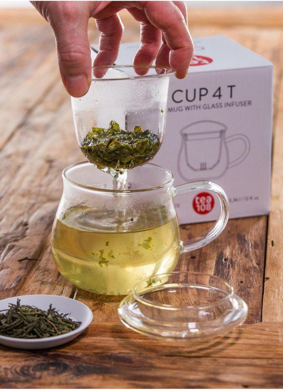 Teeglas mit Sieb - Teetasse mit Glasfilter - 360ml Borosilikat Glass mit Filter - von Tea 108 – Bild 1
