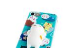 Spada - TPU Softcover Squishy 3D Cat Cartoon - Apple iPhone 6, 6S, 7, 8 - Türkis/Weiß 002