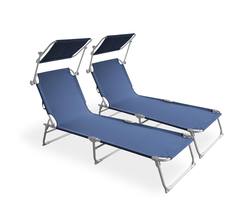 Liegestuhl Sonnenliege blau 2er Set