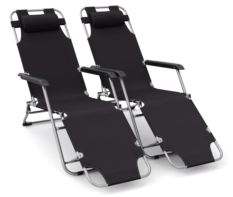 Liegestuhl Campingstuhl schwarz 2er Set