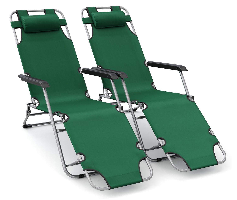 Liegestuhl Campingstuhl grün 2er Set