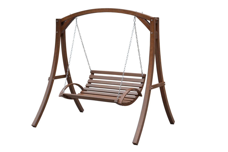 Hängeschaukel mit Gestell aus Holz