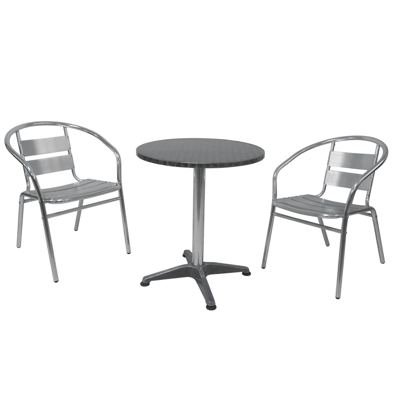 Bistrotisch Mit Stühlen Outdoor.Bistrotisch Mit 2 Stühlen Aluminium Silber