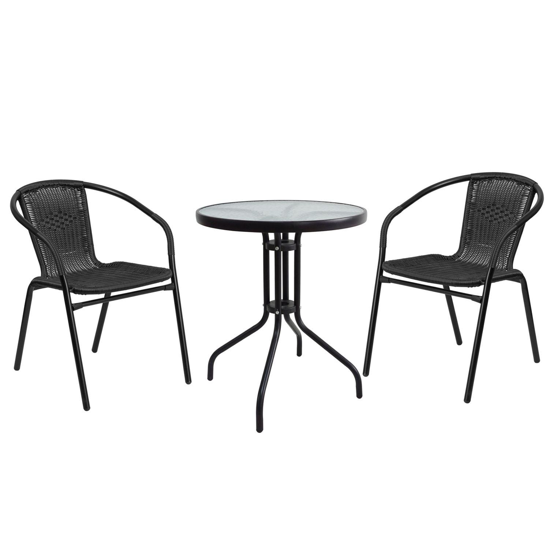 Salon de jardin avec table ronde + 2 chaises en rotin noir