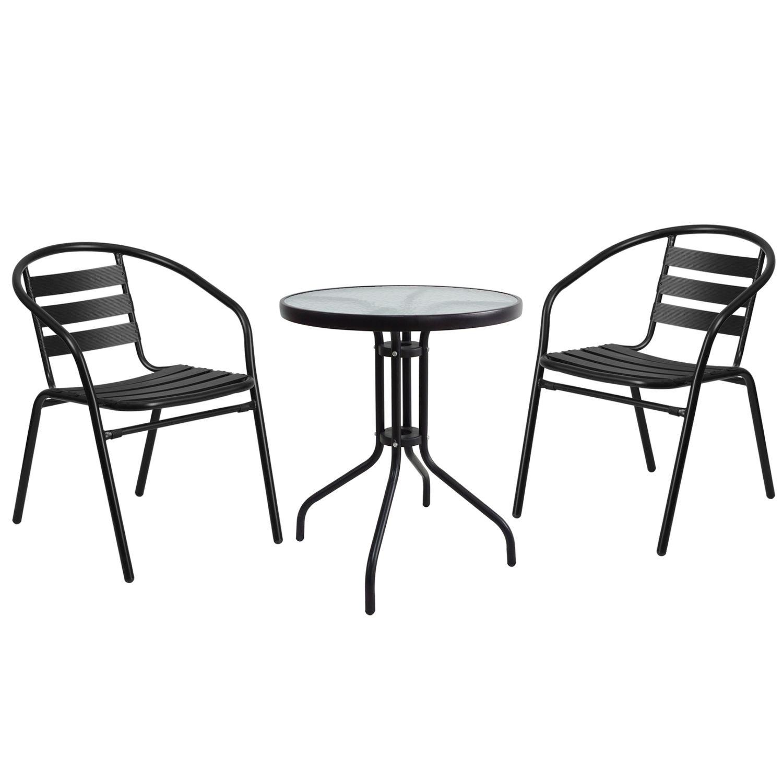 Salon de jardin avec table ronde + 2 chaises noir