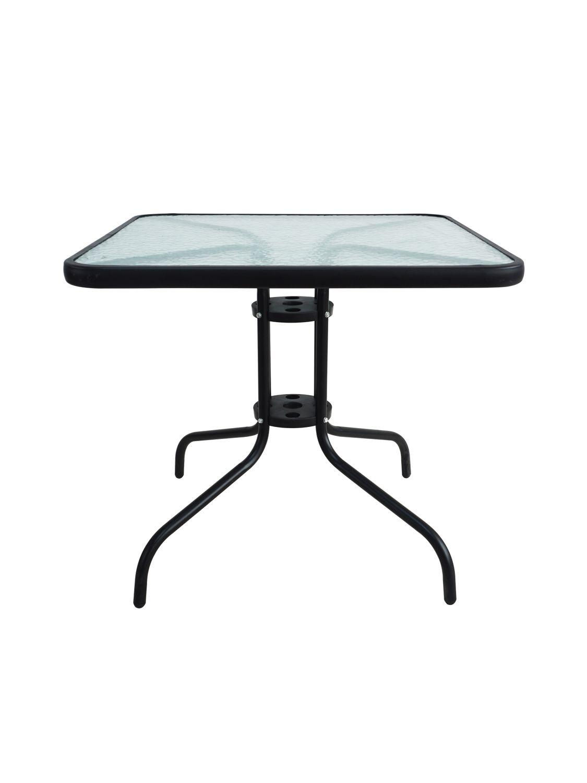 Salon de jardin avec table carrée + 2 chaises aluminium noir