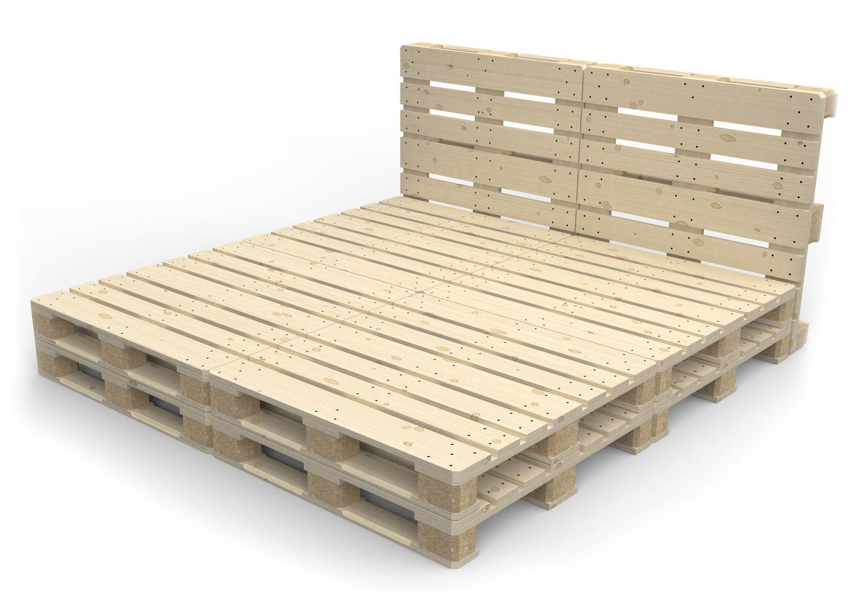 Tete De Lit Voile lit de palette 200 x 200 cm avec tête de lit