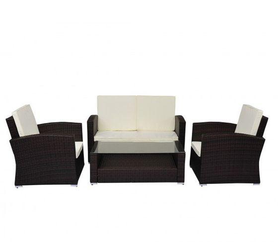 Gartengarnitur Rattan-Lounge, 4-teilig braun