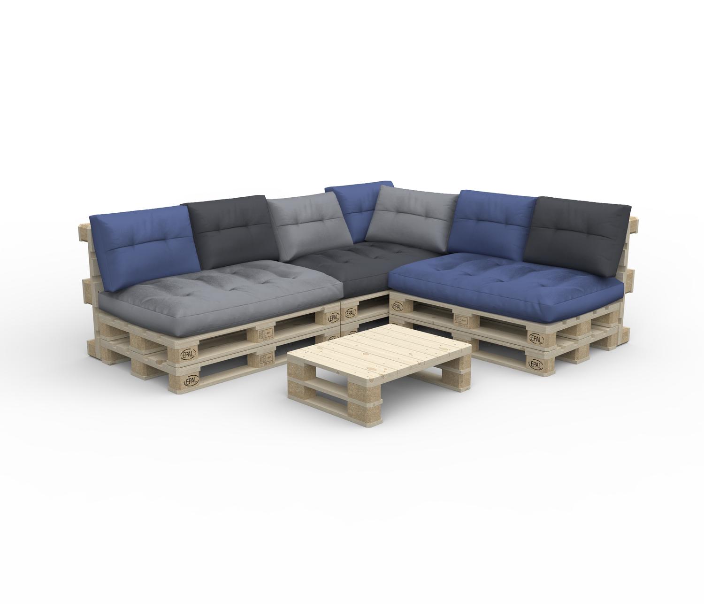 Paletten Lounge ASCONA inkl. Kissen bunt + Tisch