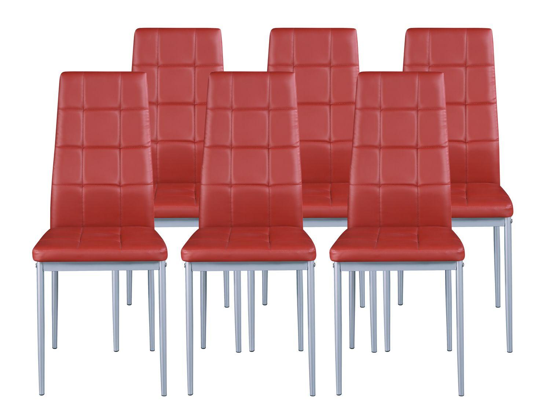 Esszimmerstuhl MARC rot im 6er Set