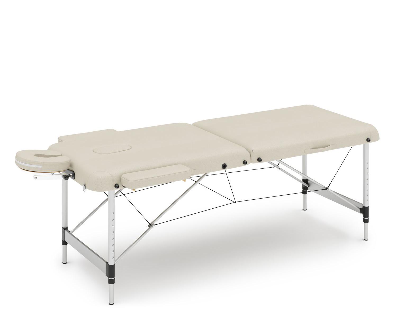 Massageliege 2-Zonen Alu beige