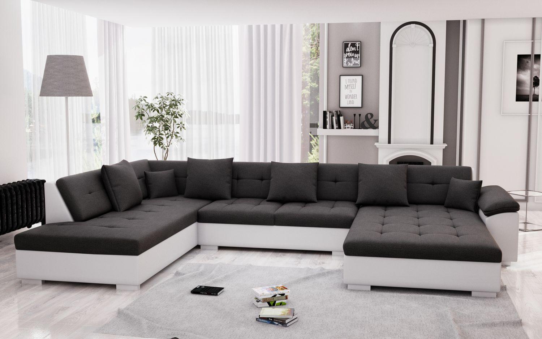 Sofa ARIA rechts grau/weiss