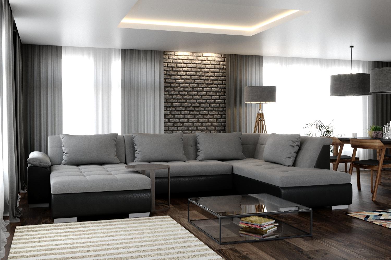 Sofa LUNA links grau/schwarz