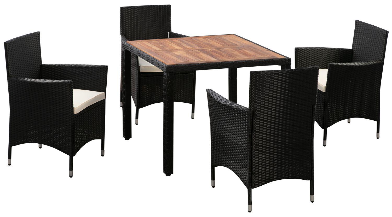 Rattangarnitur ALBA: 1 Tisch + 4 Stühle