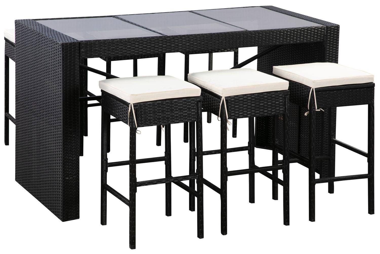 Rattan Bartheke + 6 Barstühle MODENA schwarz