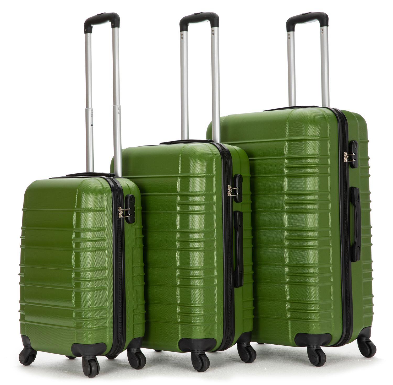 Reisekoffer Hartschalenkoffer 3er SET grün