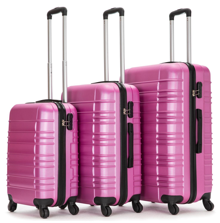 Reisekoffer Hartschalenkoffer 3er SET pink