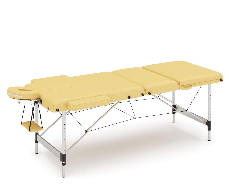 Massageliege 3-Zonen Alu gelb
