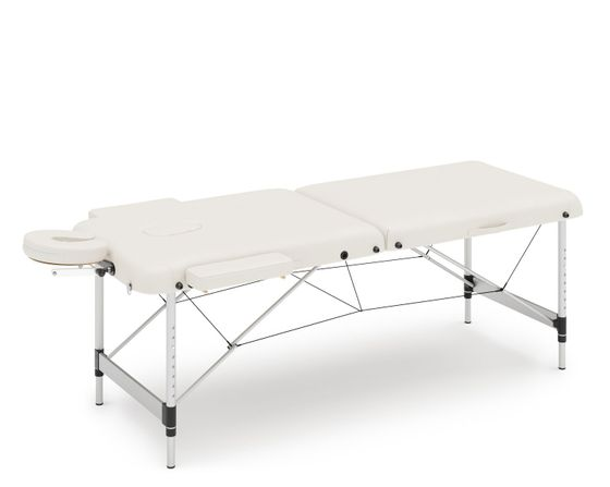 Table de massage 2 zones, pieds alu, blanc