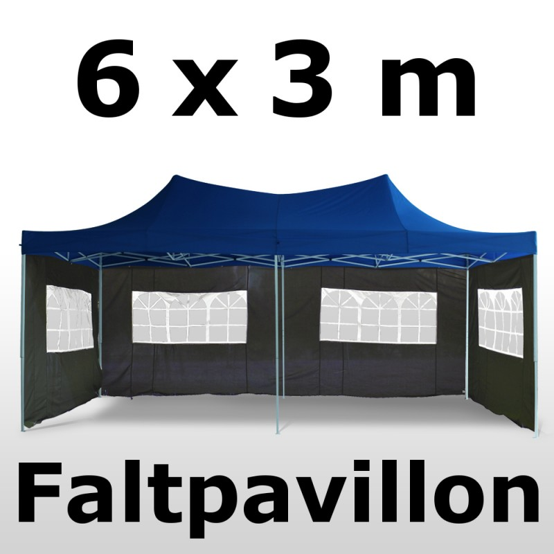 Faltpavillon 6 x 3 m blau