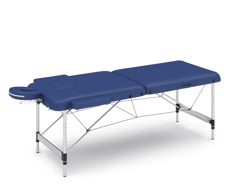 Massageliege 2-Zonen mit Alubeinen blau
