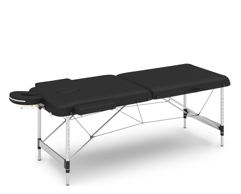 Massageliege 2-Zonen mit Alubeinen schwarz