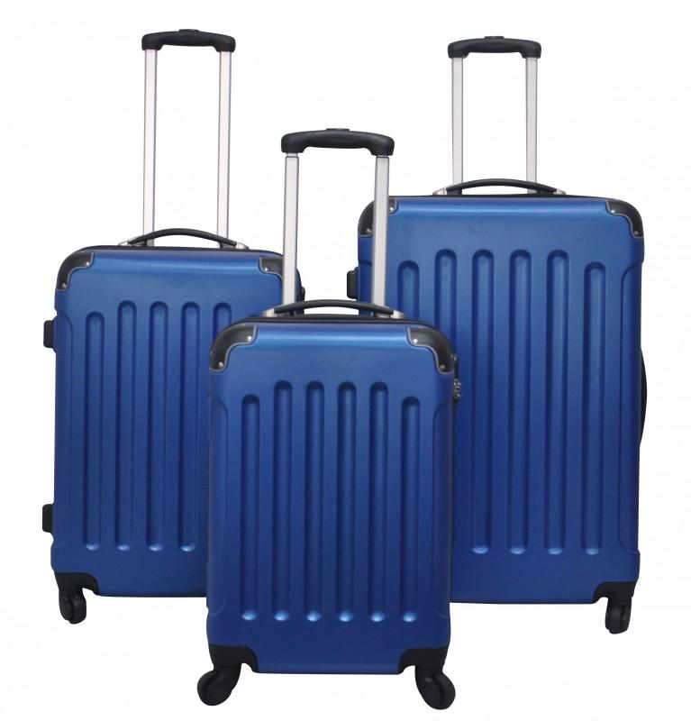 ABS Reisekoffer Hartschalenkoffer 3er SET blau