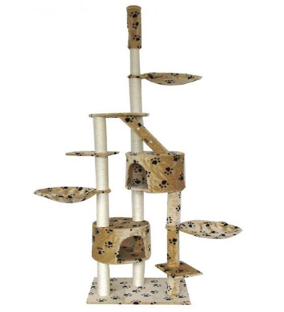 Katzenbaum deckenhoch 230 - 265 cm beige mit Pfoten
