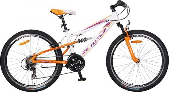 "TOTEM vollgefedertes Mountainbike Velo 26"" weiss/orange"