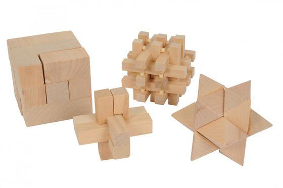 4-teiliges Geduldspiel aus Holz