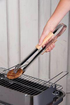 Pince à barbecue en inox et chêne