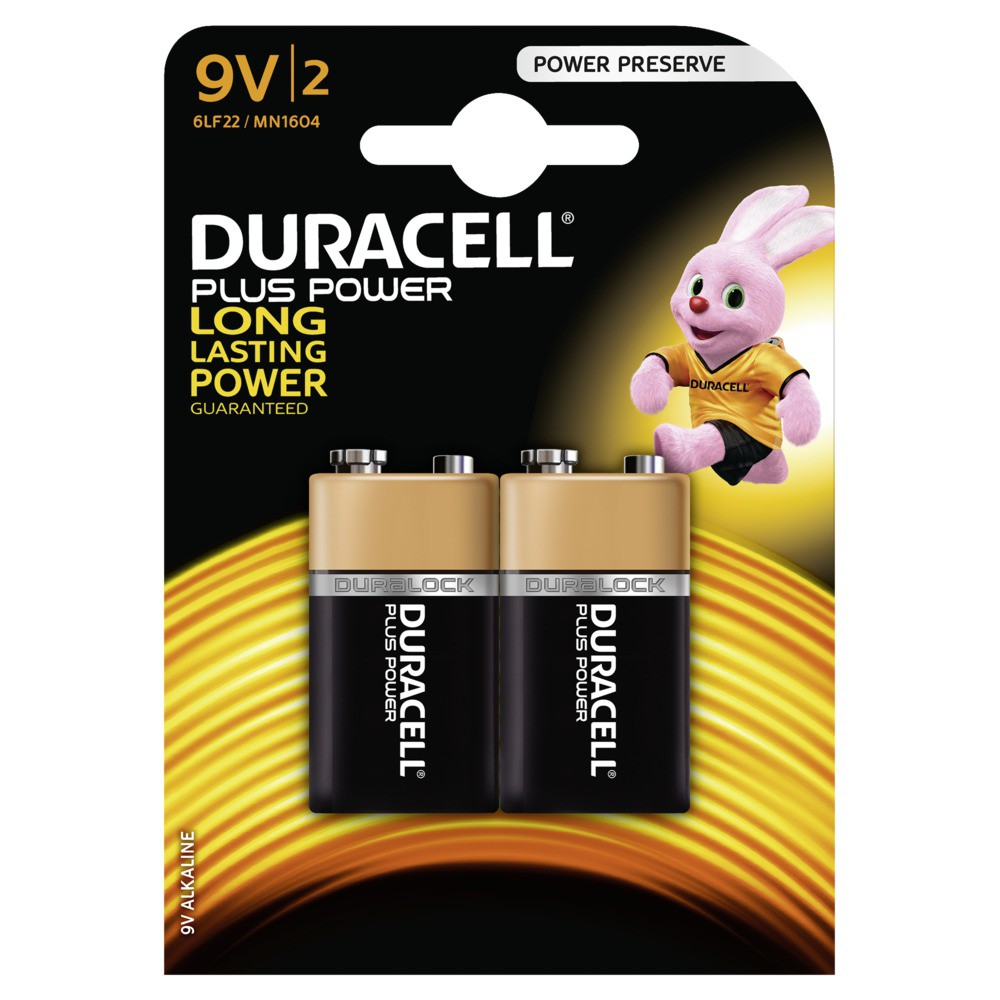 DURACELL Plus Power Batterie 9V 6LF22 / MN1604 2 Stk.