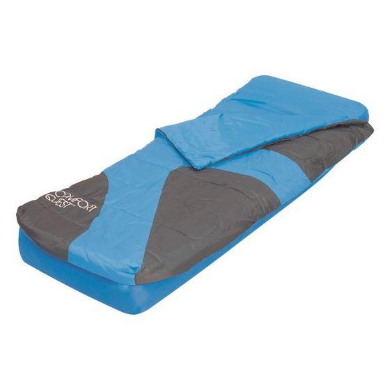Matelas gonflable avec sac de couchage bleu