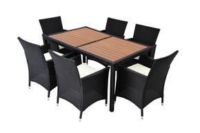 Ensemble en rotin: Table + 6 chaises