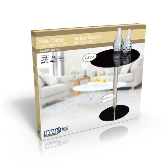 schwarzer glas beistelltisch rund online shop gonser. Black Bedroom Furniture Sets. Home Design Ideas
